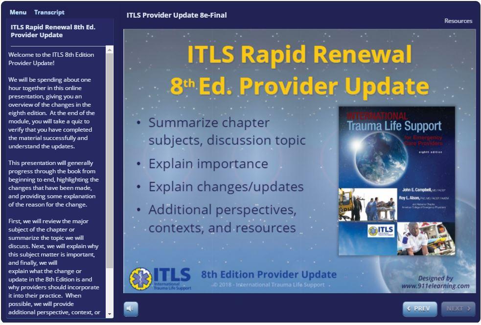 Rapid Renewal Provider Update - ITLS